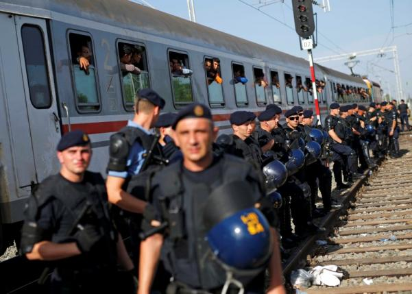 Croatian policemen line up as migrants look on from a train at the Tovarnik railway station