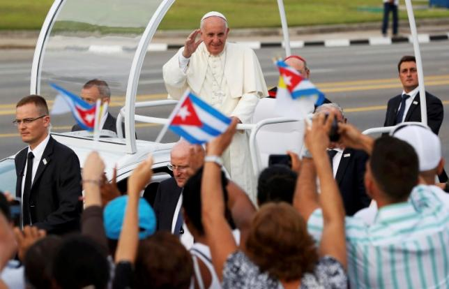 Pope Francis arrives for the first mass of his visit to Cuba in Havana's Revolution Square