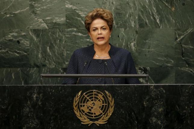 Dilma Rousseff, President of Brazil Addresses a plenary meeting of the United Nations Sustainable Development Summit 2015 at the United Nations headquarters in Manhattan, New York