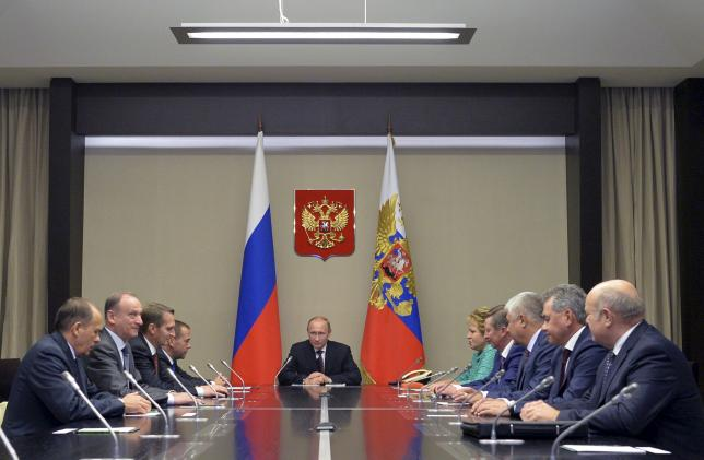 Russian President Putin chairs meeting with members of Security Council at Novo-Ogaryovo state residence outside Moscow