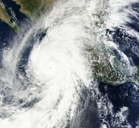 Hurricane Patricia approaches the western coast of Mexico in this NASA handout satellite image
