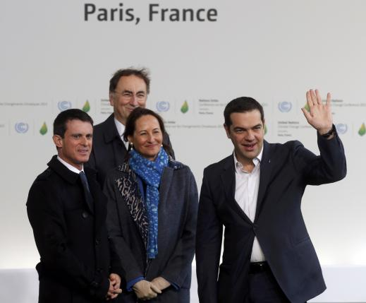 French Ecology Minister Royal and French Prime Minister Valls welcome Greek Prime Minister Tsipras for the opening day of the World Climate Change Conference 2015 (COP21) at Le Bourget