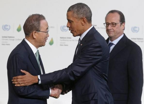U.S. President Obama is welcomed by United Nations Secretary General Ki-moon and French President Hollande as he arrives for the opening day of the World Climate Change Conference 2015 (COP21) at Le Bourget, near Paris