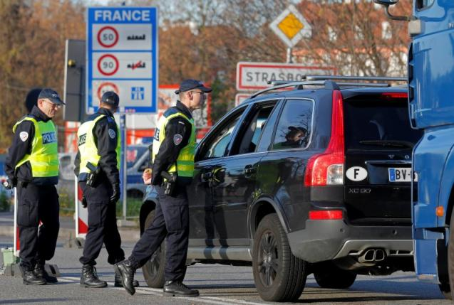 French police conduct a control at the French-German border in Strasbourg, to check vehicles and verify the identity of travellers