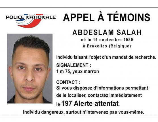 Handout picture shows Belgian-born Abdeslam Salah seen on a call for witnesses notice released by the French Police Nationale information services on their twitter account