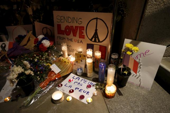 A makeshift memorial is seen at a vigil outside the French Consulate in response to the attacks in Paris, in Los Angeles