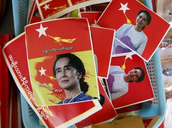 Aung San Suu Kyi stickers for sale are seen at the National League for Democracy headquarters ahead of Sunday's general election in Yangon