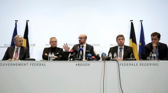 Belgium's government addresses a news conference after security was tightened in Belgium following the fatal attacks in Paris