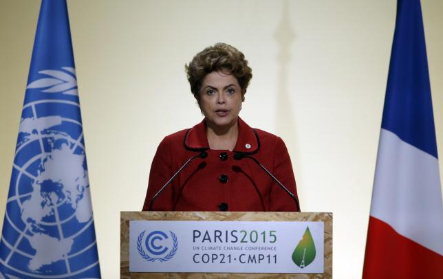 Brazil's President Rousseff delivers a speech during the opening session of the World Climate Change Conference 2015 (COP21) at Le Bourget