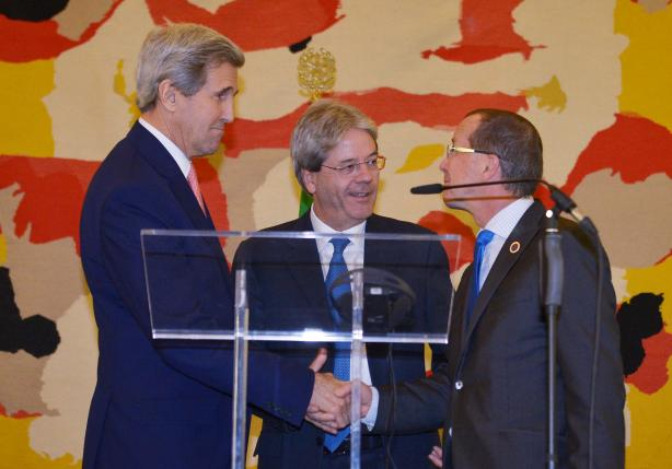 Italy's Foreign Minister Gentiloni, U.S. Secretary of State Kerry and UN special envoy for Libya Kobler a joint news conference following an international conference on Libya at the Ministry of Foreign Affairs in Rome