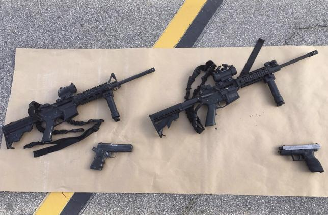 Weapons confiscated from last Wednesday's attack in San Bernardino, California