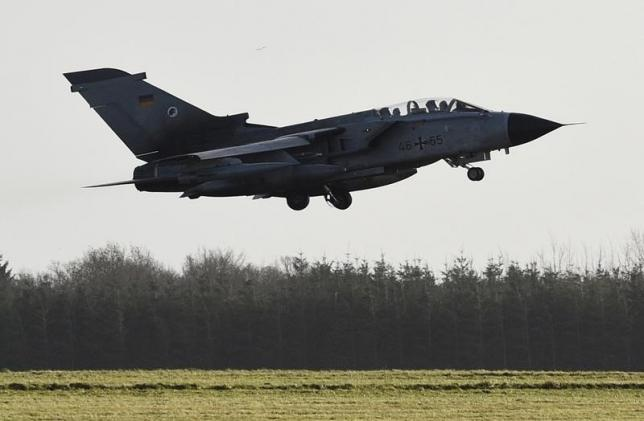 A Tornado aircraft of the Tactical Air Force Wing 51 'Immelmann' is pictured during a demonstration flight at German army Bundeswehr airbase in Jagel