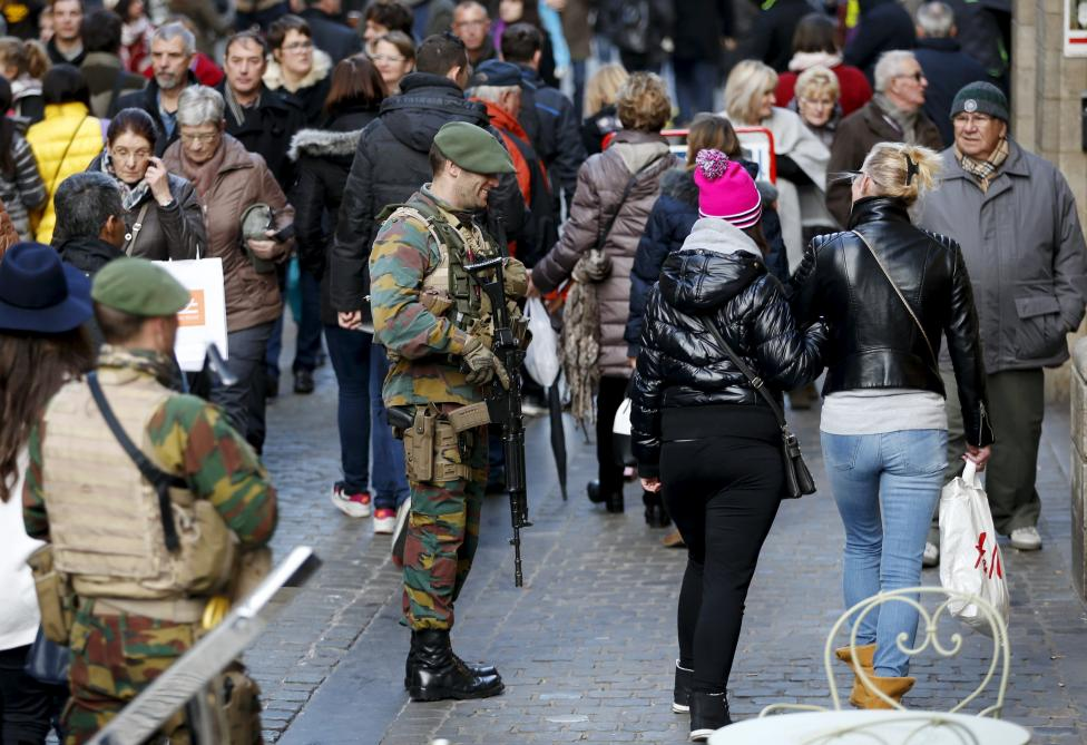 Belgian soldiers patrol on Brussels' Grand Place