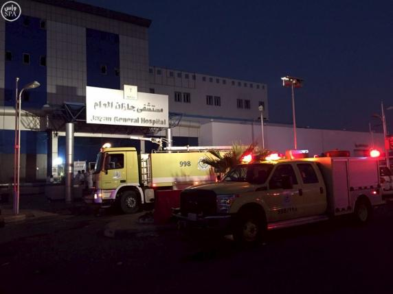 Saudi civil defence vehicles are seen outside Jazan General Hospital following a pre-dawn fire in the port city of Jazan, Saudi Arabia