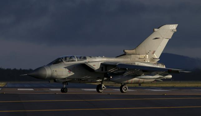 An RAF Tornado lands at RAF Lossiemouth in Scotland