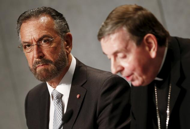Rabbi David Rosen and  Cardinal Kurt Koch attend a news conference at the Vatican