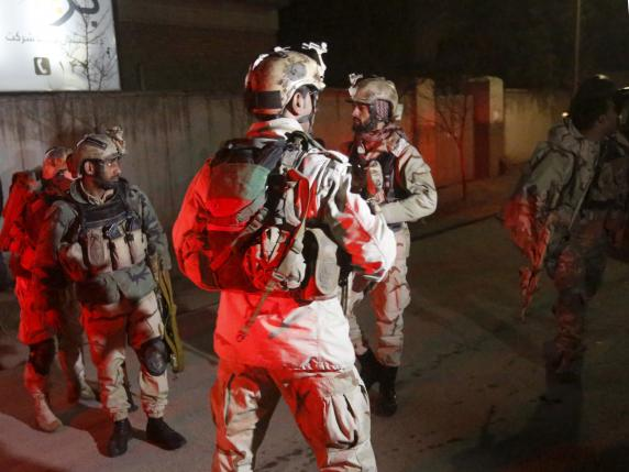 Members of Afghan Crisis Response Unit (CRU) arrive at the site of a Taliban attack in the Afghan capital of Kabul