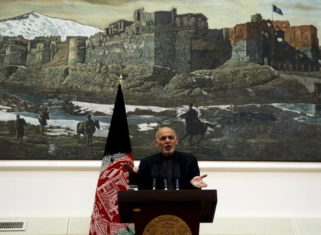 Afghanistan's President Ashraf Ghani speaks during a news conference in Kabul, Afghanistan