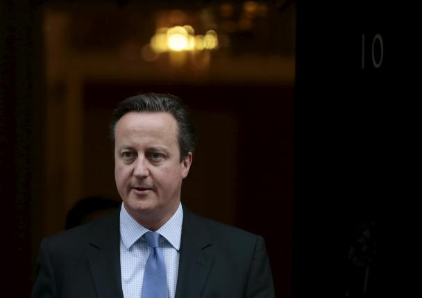 Britain's Prime Minister Cameron leaves Downing Street in London