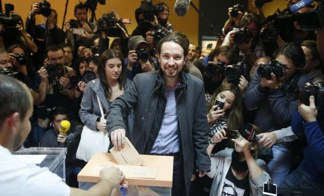 Podemos (We Can) party leader Pablo Iglesias casts his vote in Spain's general election in Madrid