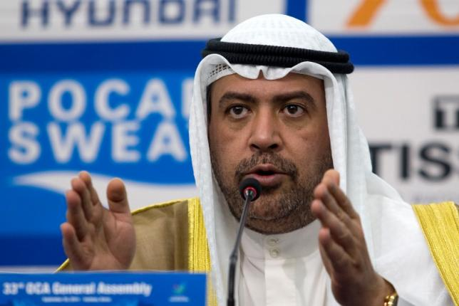 OCA President Sheikh Ahmad speaks at a news conference at the Main Media Centre of the 17th Asian Games in Incheon