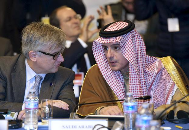 Saudi Foreign Minister Adel al-Jubeir takes part in an international conference at the Ministry of Foreign Affairs in Rome
