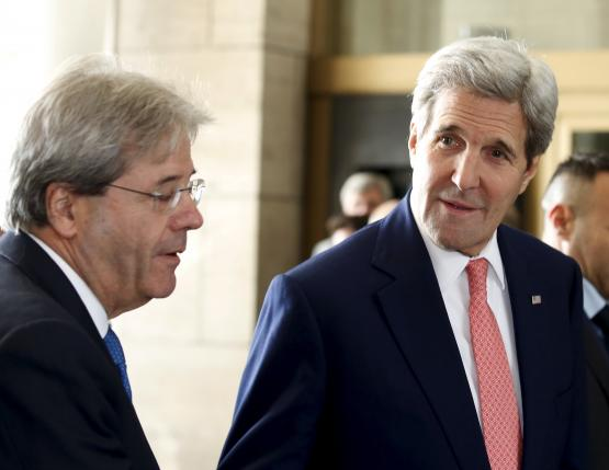 U.S. Secretary of State Kerry and Italian Foreign Minister Gentiloni arrive for a talk in Rome
