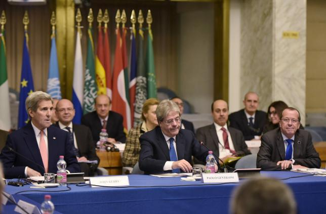 U.S. Secretary of State John Kerry, Italy's Foreign Minister Paolo Gentiloni and United Nation's envoy Martin Kobler take part in an international conference at the Ministry of Foreign Affairs in Rome
