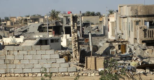 Destroyed buildings are seen in Ramadi