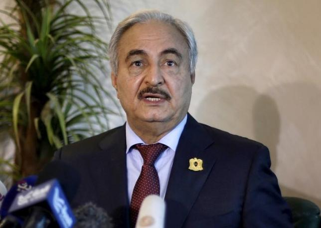 Libyan General Khalifa Haftar, chief of army loyal to internationally recognized government, speaks during news conference in Amman, Jordan