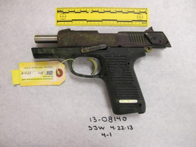 Handout of a a semiautomatic handgun entered as evidence in the Boston marathon bombing suspect Dzhokhar Tsarnaev