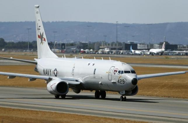 A U.S. Navy Poseidon P8 maritime surveillance aircraft taxis before taking off at Perth International Airport