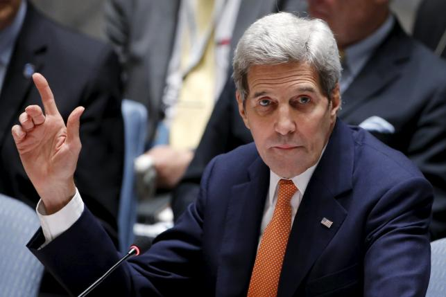 U.S. Secretary of State John Kerry votes at the United Nations Headquarters in Manhattan