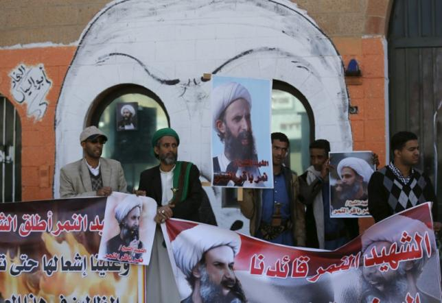 Supporters of the Houthi movement protest against the execution of Shi'ite Muslim cleric Nimr al-Nimr in Saudi Arabia, during a demonstration outside the Saudi embassy in Sanaa
