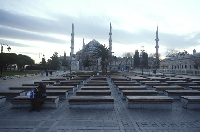 A deserted square is pictured in front of the New Mosque, following an explosion in Istanbul