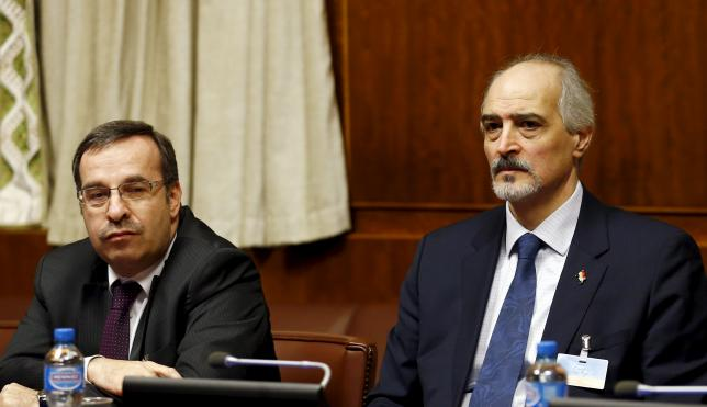 Syrian Ambassador to the UN al Jaafari and Ala attend the opening of the Syrian Peace talks at the UN in Geneva
