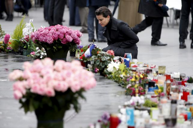 French Education Minister Najat Vallaud-Belkacem attends a ceremony at Place de la Republique square to pay tribute to the victims of last year's shooting at the French satirical newspaper Charlie Hebdo, in Paris