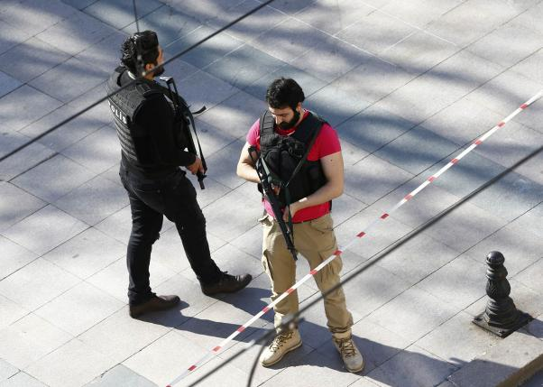 Police secure area after an explosion near the Ottoman-era Sultanahmet mosque in Istanbul