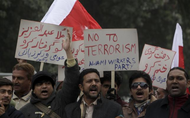 Members of the Awami Workers Party take part in a protest in Lahore against the militant attack on the Bacha Khan University