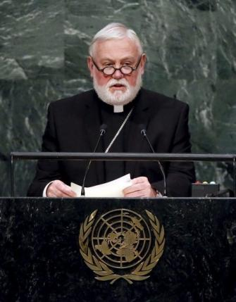 Archbishop Paul Richard Gallagher addresses a plenary meeting of the United Nations Sustainable Development Summit 2015 at the United Nations headquarters in Manhattan, New York