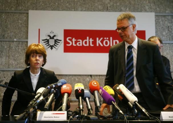 Cologne Mayor Henriette Reker and President of Cologne Police Albers arrive for news confernece in Cologne