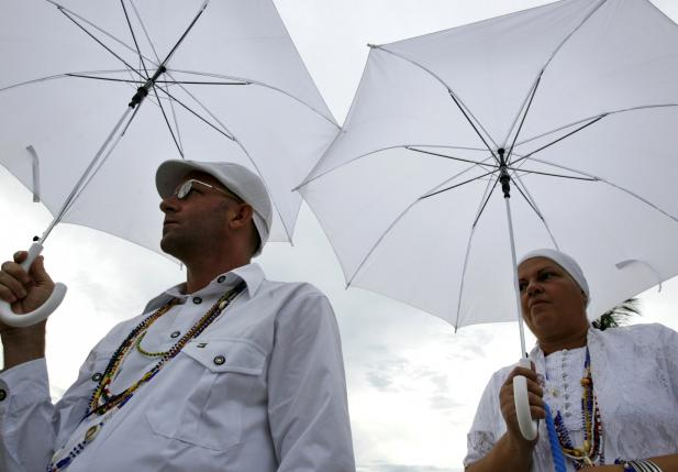 File photo of followers of the Afro-Cuban religion Santeria attending a procession of the Virgin of Regla in Regla, a worker's district in the port of Havana