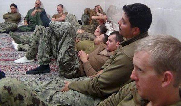 U.S. sailors are seen in an undisclosed location in Iran in this handout picture released on Farsnews website