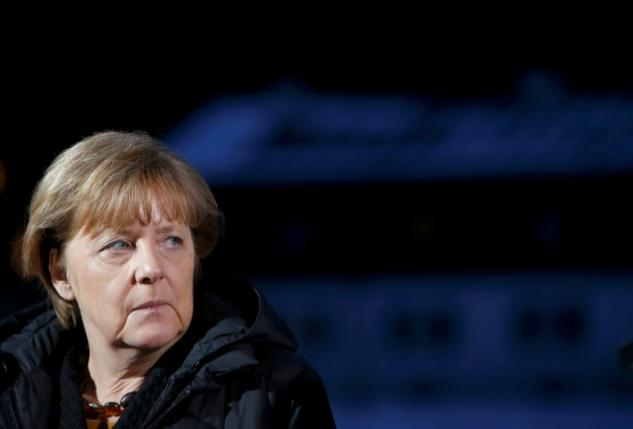 German Chancellor Merkel waits to give statement during CSU Epiphany meeting in Wildbad Kreuth