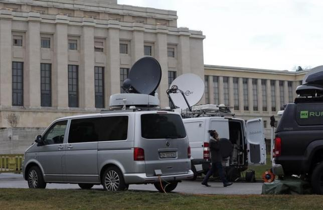 Television vans are pictured ahead of the start of Syrian talks in front of the United Nations European headquarters in Geneva