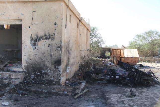 A general view shows the damage at the scene of an explosion at the Police Training Centre in  the town of Zliten