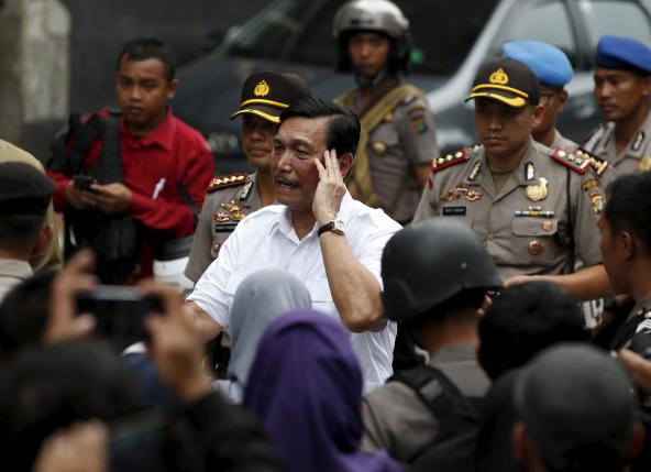 Indonesia's chief security minister Luhut Pandjaitan visits the site of an attack in central Jakarta