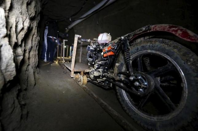 A motorcycle modified to run on rails is seen inside a tunnel connected to the Altiplano Federal Penitentiary and used by drug lord Guzman to escape, in Almoloya de Juarez