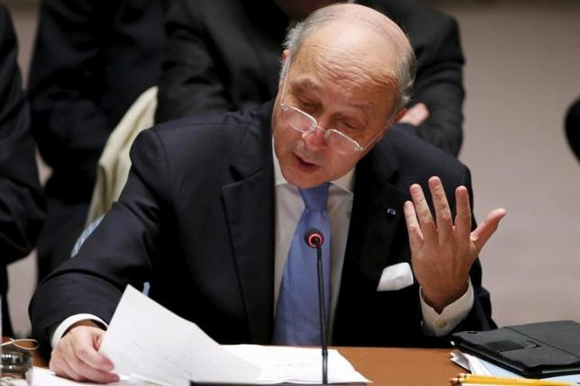 French Foreign Minister Fabius speaks to members of the Security Council at the United Nations Headquarters in Manhattan, New York