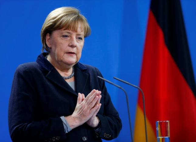 German Chancellor Angela addresses joint news conference in Berlin
